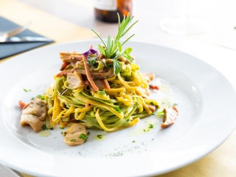 Tagliolini speck e porcini- ristorante Hotel alla Fonte-Arta Terme-Carnia